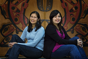 Magnolia Unka (L) and Sita-Rani MacMillan will help to counteract a national shortage in First Nations lawyers and educators - photo by Martin Dee