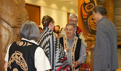 Vice Provost Anna Kindler is ceremoniously blanketed First Nations House of Learning, Photo by K. Ward