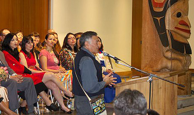 Dempsey Bob, Tahltan-Tlingit artist, O.C., 2014 UBC honorary graduate, gives keynote address First Nations House of Learning, Photo by K. Ward