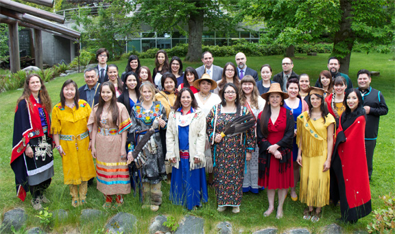 UBC Aboriginal graduates at the First Nations House of Learning graduation celebration held May 24, 2014 First Nations House of Learning, Photo by K. Ward