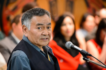 Dempsey Bob, Tahltan-Tlingit artist, O.C., 2014 UBC honorary graduate, provided this year's keynote address First Nations House of Learning, Photo by Don Erhardt