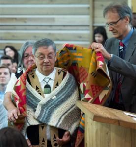 Musqueam Elder Larry Grant, Blanketing Ceremony Photo Credit: Don Erhardt