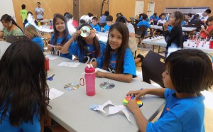 Musqueam youth learning about light and colour at a Geering Up camp. Photo: Geering Up