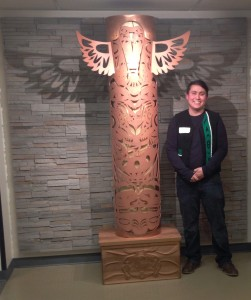 Squamish artist James Harry at the raising of his pole at the UBC Department of Mechanical Engineering.