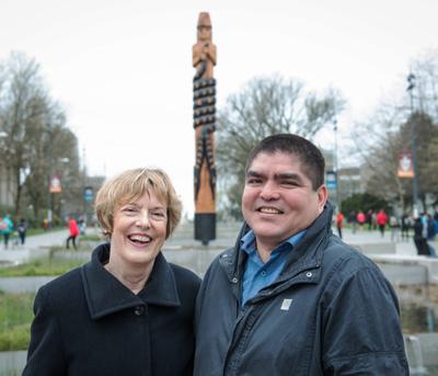 UBC interim president Martha Piper and Musqueam artist Brent Sparrow Jr. Photo credit: Martin Dee