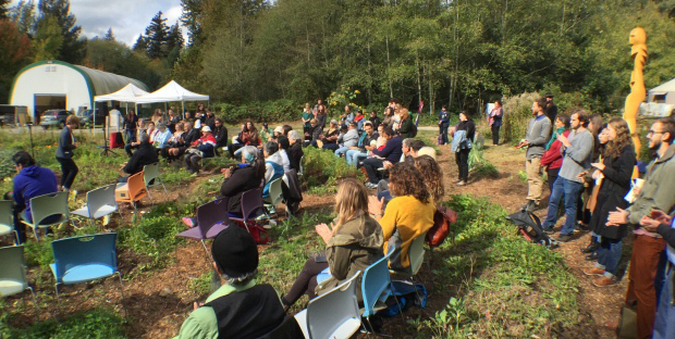 A pole raising and traditional naming ceremony was held at the UBC Farm's Indigenous Health and Research Education Gardens on October 3, 2016.  Photo: Rafferty Baker/CBC News